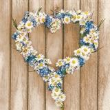 Herz aus Blumen auf Holz - Heart of flowers on wood - Coeur de fleurs sur le bois