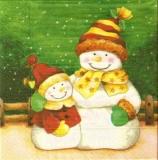 Großer & kleiner Schneemann warm angezogen - Big & little snowman dressed warmly - Bonhomme de grands & petits habillé chaudement