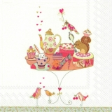 Eichhörnchen, Hase & Vögel bei Geburtstagstorte - Squirrel, rabbit & birds with birthday cake - Écureuil, lapin & oiseaux avec gâteau danniversaire