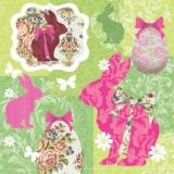 Hasen, Schmetterlinge, Ostereier & nostalgische Blumen -  Rabbits, butterflies, Easter eggs & nostalgic flowers - Lapins, papillons, oeufs de Pâques & fleurs nostalgiques