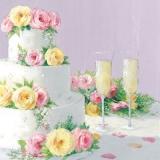 3-stöckige Torte & Champagner, Hochzeitstorte mit Rosen - Wedding cake & Champagne - Gâteau de mariage & Champagne