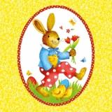 Fröhlicher Hase & Küken auf Wiese - Happy Bunny & Chick on meadow - Lapin amureu & Poussin sur la prairie