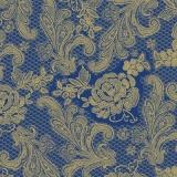 Blumenmuster aus Spitze blau-gold - Floral lace blue-gold - Dentelle florale bleu-or