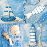Boot, Fisch, Flaschenpost, Leuchtturm - Love at sea - Boat, fish, bottle, Lighthouse - Bateau, poissons, bouteille, Phare