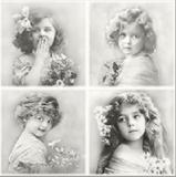 4 nostalgische Mädchen mit Blumen - 4 nostalgic girls with flowers - 4 fille nostalgique avec des fleurs