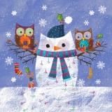 Eulenschneemann & 2 Eulen - Owl-snowman & 2 Owls - hibou-bonhomme de neige et 2 hiboux