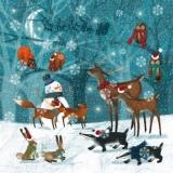 Alle Tiere beim Schneemann im Wald - All the animals with the snowman in the woods - Tous les animaux du bonhomme de neige dans les bois