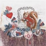 Eichhörnchen, Haselnuss, Herzen, Holz - Squirrels, hazel, heart, wood - Écureuil, noisetier, lcœur, bois -