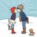 Frisch verliebt - Mädchen & Junge, Teddy, Hund, Schlittschuhe - Fallen in love - girl & boy, plush bear, dog, ice skates - Tombé amoureux - fille et garçon, ours en peluche, chien, patins à glace