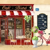 Café - Bistrô in Frankreich, Fahrrad, Rosenbäumchen - Café - Bistro in France, Bicycle, rose tree - Café - Bistro en France, Vélo, rosier