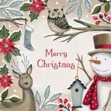 Rentier & Eule zu Besuch beim Schneemann - Reindeer & Owl visiting the Snowman - Renne et Hibou visitant le Bonhomme de neige