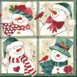2 Vögel & 4 fröhliche Schneemänner - 2 Birds & 4 happy snowmen - 2 Oiseaux et 4 bonhommes de neige heureux
