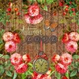 Autumn love - Holz, Beeren, Uhr, Rosen, Schmetterling - Wood, berries, Clock, roses, butterfly - Bois, baies, Horloge, roses, papillon