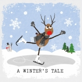 Rentier Rudy auf Schlittschuh & Schneemann - Rudy Reindeer on ice and snowman - Rudolph renne sur la glace et bonhomme de neige