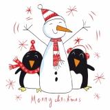 Pinguine beim Schneemann - Penguins at the Snowman - Penguins au bonhomme de neige