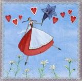 Blumenmädchen im Dirndl mit Herzen, Enzian & Edelweiss - Flower girl with Dirndl, hearts, gentian and edelweiss - Fille de fleurs dans la robe tyrolienne des coeurs, la gentiane et l edelweiss