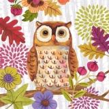 Eule mit Blumen & Blättern - Owl with flowers & foliage - Owl avec des fleurs et feuillage
