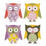 4 bunte Eulen - 4 colorful owls - 4 hiboux multicolores