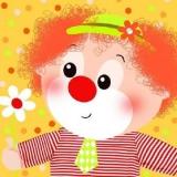 Clown mit Tröte & Clown mit Blume - Clown with trumpet and Clown with Flower - Clown avec trompette et Clown avec fleur