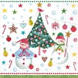 2 fröhliche Schneemänner- 2 happy snowmen - 2 bonhommes de neige heureux