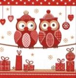 2 Eulen und Geschenke, rot -