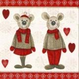 Wintermäusepaar mit Herzen - Winter mice couple with hearts - Souris dhiver couple avec coeurs