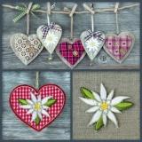 Edelweiss, Holz, Herzen, Landhausstil - Edelweiss, Hearts, Wood, Country style - Edelweiss, Coeurs, bois, style de Pays