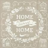 Home sweet Home mit Herzen,Häusern & Blüten leinen - Home sweet Home with Hearts, Houses & Flowers -linen - Home sweet home avec coeurs, maisons & fleurs