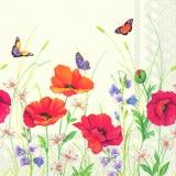 Blumenwiese mit Mohn & Schmetterlingen - flower meadow with poppies & butterflies - prairie de fleurs de coquelicots et de papillons