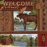 Elch, Holzhütte am See, Tannenzapfen, Wildniss - Elk, wooden hut in the lake, fir cone, wilderness - Elan, cabane de bois au lac, à la pomme de pin, région sauvage
