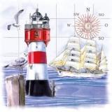 Möwen, Leuchtturm, Kompass, Segelschiff - Gulls, lighthouse, compass, sailing ship - Mouettes, phare, boussole, bateau à voiles