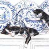 Schwarze Kätzchen, Katzen im Porzellanregal - Black kittens, cats on porcelain shelf - Chatons noirs, chats sur la étagère