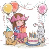 Mädchen, Teddy, Plüschhase, Feier, Geburtstagsprinzessin - Girl, Teddy, plush bear & hare, celebration, birthday princess - Fille, ours en peluche, lièvre de peluche, fête, princesse danniversaire