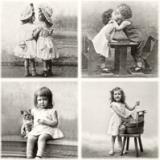 4 nostalgische Kinderbilder - 4 nostalgic child pictures - 4 images denfant nostalgiques