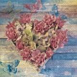 Blütenherz auf Holz - Flower heart on wood - Coeur de fleurs sur le bois