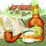 Whiskey, Pfeife, Buch, Pferd, Landsitz - Whisky, whistle, book, horse, country side - Whiskey, sifflet, livre, cheval, Manor