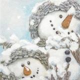 2 Schneemannfreunde warm angezogen - 2 snowmen friends dressed warmly - 2 bonhommes de neige amis habillés chaudement