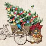 Fahrrad, Weihnachtsbaum, Geschenke & 6 Vögel - Bicycle, Christmas trre, presents & 6 birds - Bicyclette, arbre de Noël, cadeaux & 6 oiseaux