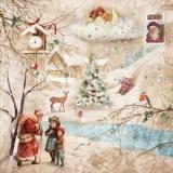 Nostalgische Winterlandschaft mit Weihnachtsmann, Kindern, Tieren, Engeln - Nostalgic winter scenery with Santa Claus, children, animals, angels - Paysage dhiver nostalgique avec Weihnachtsmann, enfa