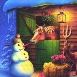 Pferd will Schneemanns Karottennase - Horse wants snowmans carrot nose - Cheval veut bonhomme de neige nez de carotte