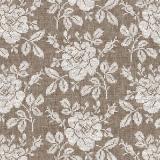 Blumenmuster auf braunem Leinen - Flower pattern on Brown linen - Motif floral sur lin brun