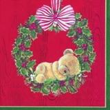 Kleiner Teddybär im Ilexkranz - Little plush bear in Holly wreath - Petit ours en peluche dans une couronne de houx