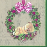 Kleiner Teddybär im Ilexkranz, hell - Little plush bear in Holly wreath - Petit ours en peluche dans une couronne de houx