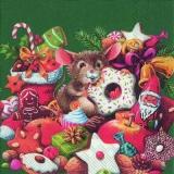 Kleine Maus bei den Weihnachtsleckereien, grün - Little mouse at the Christmas goddies, green - Petite souris aux friandises de Noël, vert