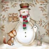 Schneemann mit Fuchs, Eulen und Hase - Snowman with fox, owls and rabbit - Bonhomme de neige avec renard, hiboux et lapin