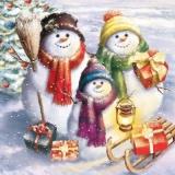 Familie Schneemann mit Geschenken - Family Sowman with gifts - Bonhomme de neige en famille avec des cadeaux