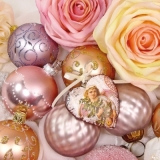Pastelfarbene Weihnachtskugeln mit Engel - Pastel-colored Christmas balls with angel - Couleurs pastel Boules de Noël avec des ange