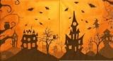 Gruselige NAcht mit Hexe, Eulen, Katze, Spinne,  Fledermäusen - Creepy night with witch, owls, cat, spider, bats - Nuit macabre avec la sorcière, les hiboux, le chat, laraignée, les chauve-souris