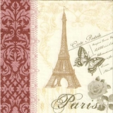 Eiffelturm, Paris, Postkarte, Schmetterling, Muster, Rose - Eiffel Tower, Paris, Postcard, butterfly, pattern, Rose - Tour Eiffel, Paris, carte postale, papillon, motif, Rose