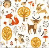 Pilze, Eule, Fuchs, Reh, Vogel, Igel im Wald - Mushrooms, owl, fox, deer, birds, hedgehogs in the forest - Champignons, hibou, renard, chevreuil, oiseaux, hérissons dans la forêt